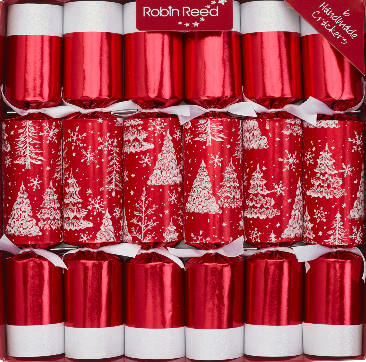 Picture of Christmas Crackers - 6 Classic Christmas Crackers - Red Snow Trees