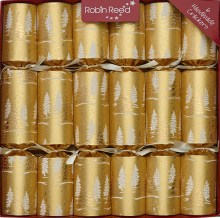 Picture of Christmas Crackers - 6 Classic Christmas Crackers - Gold Snow Trees
